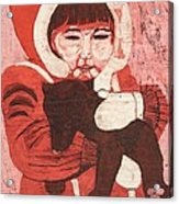 Batik -girl W Bear- Acrylic Print by Lisa Kramer