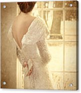 Beautiful Lady In Sequin Gown Looking Out Window Acrylic Print by Jill Battaglia