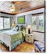 Bedroom With A Wood Ceiling Acrylic Print by Skip Nall