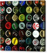 Beer Bottle Caps . 9 To 12 Proportion Acrylic Print by Wingsdomain Art and Photography
