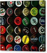 Beer Bottle Caps . 2 To 1 Proportion Acrylic Print by Wingsdomain Art and Photography