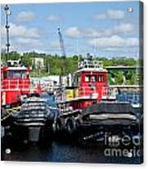 Belfast Tugboats Acrylic Print by Susan Cole Kelly