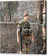 Belgian Soldier On Guard Acrylic Print by Luc De Jaeger