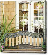 Bench On Patio Acrylic Print by Andersen Ross