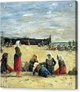 Berck - Fisherwomen On The Beach Acrylic Print by Eugene Louis Boudin