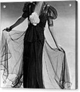 Bette Davis Wearing Black Taffeta Gown Acrylic Print by Everett