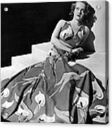 Bette Davis Wearing Gown With Calla Acrylic Print by Everett