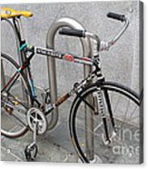 Bicycle With Stickers Acrylic Print by Wingsdomain Art and Photography