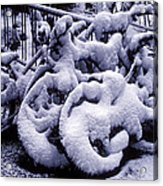 Bicycles Covered With Snow Acrylic Print by Garry Gay
