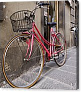 Bicycles Parked In The Street Acrylic Print by Jeremy Woodhouse