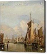 Billingsgate Wharf Acrylic Print by John Wilson Carmichael