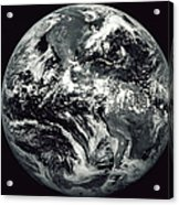 Black And White Image Of Earth Acrylic Print by Stocktrek Images