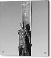 Black And White Surfer Statue Acrylic Print by Paul Topp