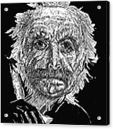 Black And White With Pen And Ink Drawing Of A Old Man  Acrylic Print by Mario  Perez