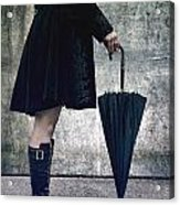 Black Umbrellla Acrylic Print by Joana Kruse