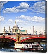 Blackfriars Bridge And St. Paul's Cathedral In London Acrylic Print by Elena Elisseeva