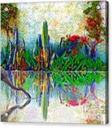 Blue Heron In My Mexican Garden Acrylic Print by John  Kolenberg
