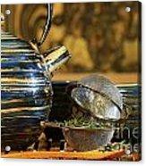 Blue Japanese Teapot Acrylic Print by Sandra Cunningham