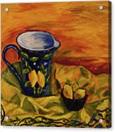 Blue Pitcher With Lemons Acrylic Print by Phyllis  Smith