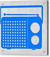Blue Transistor Radio Acrylic Print by Naxart Studio