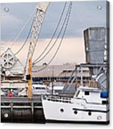 Boat And Old Crane Reflections Acrylic Print by David Lade