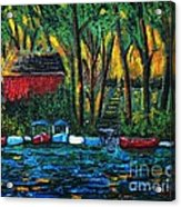 Boat Dock In The Evening Acrylic Print by Reb Frost