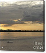 Boat On River At Sunset Acrylic Print by Nawarat Namphon