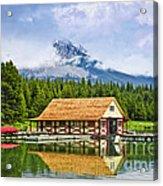 Boathouse On Mountain Lake Acrylic Print by Elena Elisseeva