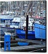 Boats Docked In Harbor Acrylic Print by Jeff Lowe