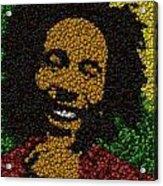 Bob Marley Bottle Cap Mosaic Acrylic Print by Paul Van Scott