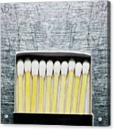 Box Of Wooden Matches On Stainless Steel. Acrylic Print by Ballyscanlon