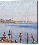 Boys At Water's Edge Acrylic Print by Johan Rohde
