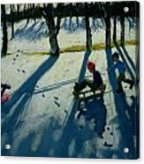 Boys Sledging Acrylic Print by Andrew Macara