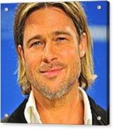 Brad Pitt At The Press Conference Acrylic Print by Everett