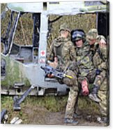 British Soldiers Help A Simulated Acrylic Print by Andrew Chittock