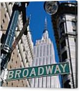 Broadway Sign And Empire State Building Acrylic Print by Axiom Photographic