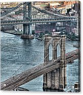 Brooklyn And Manhattan Bridge Acrylic Print by Tony Shi Photography