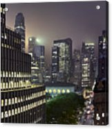 Bryant Park At Night From Roof Looking East Acrylic Print by Jon Shireman