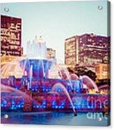 Buckingham Fountain And Chicago Skyline At Night Acrylic Print by Paul Velgos