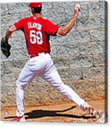 Bullpen Action Acrylic Print by Carol Christopher