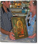 Buying Icon In Jerusalem Acrylic Print by Carl Purcell