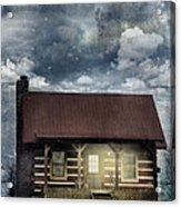 Cabin At Night Acrylic Print by Stephanie Frey