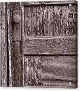 Cabin Door Bw Acrylic Print by Steve Gadomski