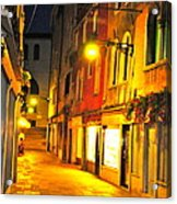 Cafe In Venice Acrylic Print by Alberta Brown Buller