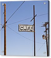 Cafe Sign Power And Telephone Cables Acrylic Print by Bryan Mullennix