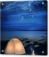 Camping Tent By The Lake At Night Acrylic Print by Jill Battaglia