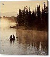 Canoeing On Winnipeg River, Pinawa Acrylic Print by Dave Reede