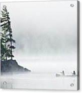 Canoeing Through Fog On Lake Of Two Acrylic Print by Mike Grandmailson