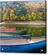Canoes At Fontana Acrylic Print by Debra and Dave Vanderlaan