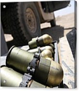 Cans Of Opened 40 Mm Grenades Acrylic Print by Stocktrek Images